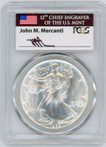 1986 Silver Eagle MS70 PCGS Signed by MERCANTI *Pop 64 Price Guide $6850*