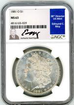 1881 O Morgan Dollar M63 NGC Moy