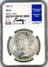 1890 Morgan Dollar MS63 NGC Moy