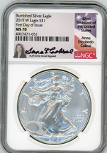 2019 W $1 Burnished Silver Eagle MS70 NGC FDOI A Cabral
