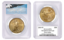 2019-W $50 Burn Gold Eagle SP70 PCGS First Strike T. Cleveland blue eagle