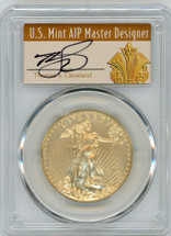 2019-W $50 Burnished Gold Eagle SP70 PCGS FDOI T. Cleveland Art Deco