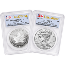 2019 Pride of Two Nations, U.S. Set Modified PR70 ML & Enhanced Rev PR70 ASE PCGS First Strike flag labels