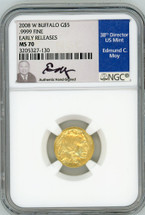 2008 W $5 Burnished Gold Buffalo MS70 NGC Early Releases Ed Moy