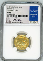 2008 W $10 Burnished Gold Buffalo MS70 NGC Early Releases Ed Moy