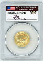 2008-W $10 Burn Gold Buffalo SP70 PCGS flag Mercanti