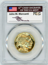 2008-W $25 Proof Gold Buffalo PR70 PCGS flag Mercanti