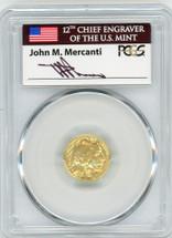 2008-W $5 Burn Gold Buffalo SP70 PCGS flag Mercanti
