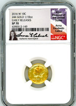2016 W 10C 24K Gold 1/10oz SP70 NGC Early/First Releases  A. Cabral