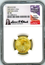 2016 W 25C 24K Gold 1/4oz SP70 NGC Early/First Releases A. Cabral