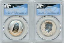 2019-S 50C 2-Coin Half Dollar Set Apollo 11 50th Anniv PR70 & Kennedy Enh Rev PR70 PCGS FDOI T. Cleveland blue eagle