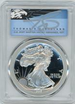 1995-P $1 Proof Silver Eagle PR70 PCGS T Cleveland Blue Eagle *POP 2*