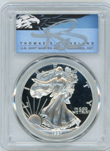 1997-P $1 Proof Silver Eagle PR70 PCGS T Cleveland Blue Eagle *POP 2*