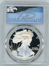 1999-P $1 Proof Silver Eagle PR70 PCGS T Cleveland Blue Eagle *POP 2*
