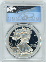2001-W $1 Proof Silver Eagle PR70 PCGS T Cleveland Blue Eagle *POP 2*