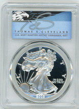 2002-W $1 Proof Silver Eagle PR70 PCGS T Cleveland Blue Eagle *POP 2*