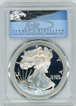 2003-W $1 Proof Silver Eagle PR70 PCGS T Cleveland Blue Eagle *POP 2*