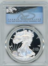 2016-W $1 Proof Silver Eagle 30TH ANN LETT EDGE FDOI PR70 PCGS T Cleveland Blue Eagle *POP 2*