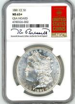 1881 CC Morgan Dollar MS65+ GSA Hoard K. Bressett