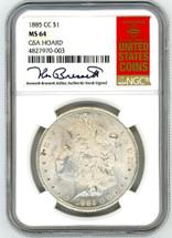 1885 CC Morgan Dollar MS64 NGC GSA Hoard K. Bressett