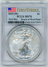 2015-(W) ASE MS70 PCGS First Day Struck at West Point flag First Strike