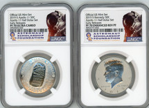 2019 S 50C PF70 & Enh. Rev. PF70 NGC Apollo 11 Half Dollar 2-Coin Official US Mint Set Early Releases Astronaut Scholarship Found. label