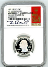 2009 S Silver 25C US Virgin Islands PF69 NGC Ultra Cameo Mint Error OBV Struck Thru K. Bressett