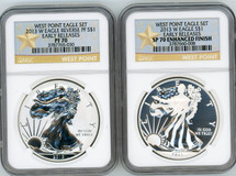 2013 W ASE 2-coin Set Rev PF/SP70 Enhanced Finish NGC Early Releases West Point Eagle Set star label