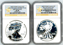2013 W ASE 2-coin Set Rev PF/SP70 Enhanced Finish NGC First Releases West Point Eagle Set star label
