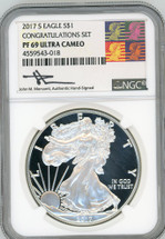 2017 S Proof ASE PF69 NGC Ultra Cameo Congratulations Set Mercanti - Warhall label