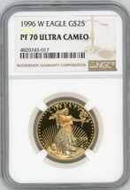 1996 W $25 Proof Gold Eagle PF70 NGC Ultra Cameo brown label