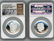 2014P Silver $1 TUVALU American Buffalo PF70 NGC Early Releases Michael Glass