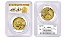 2019-W $100 Gold Liberty High Relief Enhanced PCGS FDOI SP70 T.Cleveland Art Deco