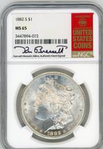 1882 S Morgan Dollar MS65 NGC K. Bressett