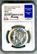 2017 $25 Palladium Eagle MS70 NGC High Relief First Palladium US Coin Ed Moy