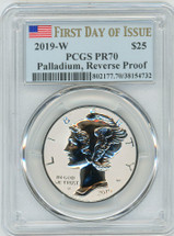 2019-W $25 Reverse Proof Palladium PR70 PCGS FDOI flag label