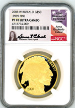 2008 W $50 Proof Gold Buffalo PF70 NGC Ultra Cameo A. Cabral