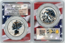 2019-W $25 Palladium Reverse Proof PR70 PCGS FDOI flag frame POP 25