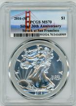 2016-(S) ASE MS70 PCGS Silver 30th Anniv Struck at San Fran bridge label