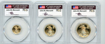 1999 3-Coin ($5, 10, $25) Proof Gold Eagle PR70 PCGS flag Mercanti