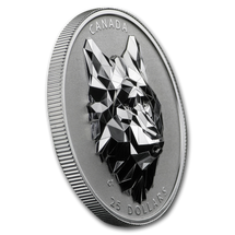 2019 $25 Canada Silver Wolf Multifacated High Relief Proof in OGP