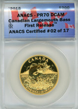 2015 $200 Gold Canadian Largemouth Bass PR70 ANACS First Release ANACS Certified #02 0f 17