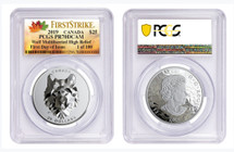 2019 $25 Canada Wolf Multifaceted High Relief PR70 PCGS FDOI First Strike 1 of 100 ML label