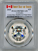 2020 $25 Canada Grizzly Mulitfaceted High Relief PR70 PCGS FDOI flag label