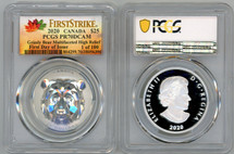2020 $25 Canada Grizzly Multifaceted High Relief PR70 PCGS FDOI First Strike 1 of 100 Autumn label