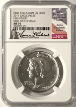 2017 $25 Palladium Eagle MS70 NGC High Relief FDOI A. Cabral