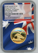 2018P $100 Gold Australia Wedge-Tailed Eagle PF70 NGC Ult. Cameo High Relief First Releases Mercanti
