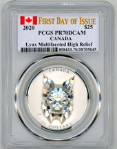 2020 $25 Canada Lynx Multifaceted High Relief PR70 PCGS FDOI flag label