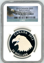 2013 Canada Silver $20 The Bald Eagle PF70 NGC Ultra Cameo Early Releases