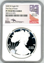 2020 W Proof ASE PF70 NGC Ultra Cameo First Day of Issue Mercanti signed